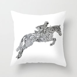 Zentangle Horse and rider show jumping Throw Pillow