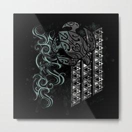 Slate Polynesian Tribal Turtle Grunge Metal Print