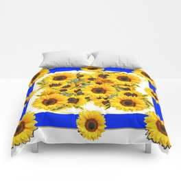 CLASSIC WHITE & BLUE SUNFLOWERS ART Comforters