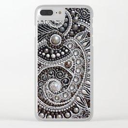 Monochrome Paisley Clear iPhone Case