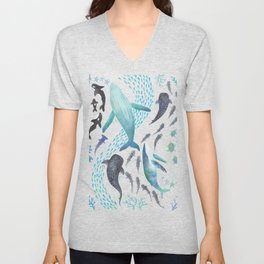 Sharks, Humpback Whales, Orcas & Turtles Ocean Play Print Unisex V-Neck