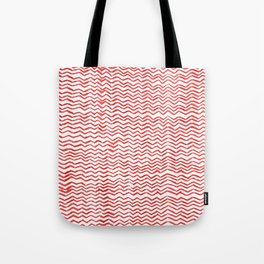 Red Wavy Chevrons Tote Bag