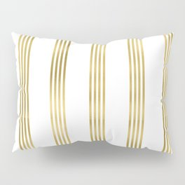 Simply luxury Gold small stripes on clear white - vertical pattern Pillow Sham