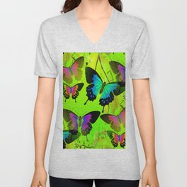 Painted Lady and Morph Butterflies Unisex V-Neck