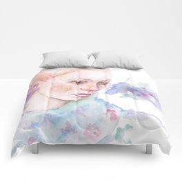 Waterolor portrait of a girl Comforters