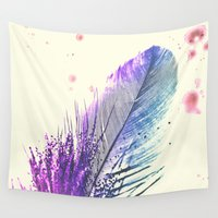 feather Wall Tapestries featuring Feather  by Monika Strigel