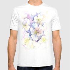 Cherry Blossoms Flowers Spring Floral White Mens Fitted Tee MEDIUM