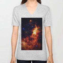 Fiery gAlAXy Indigo Stars Unisex V-Neck