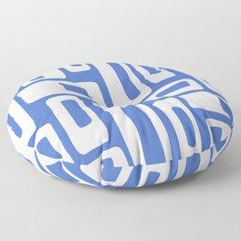Retro Mid Century Modern Abstract Pattern 335 Blue Floor Pillow