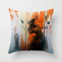 glitch Throw Pillows featuring glitch by HAW Design Studio