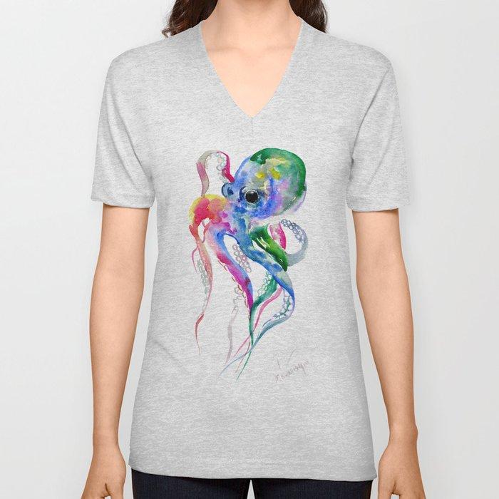 Rainbow Octopus, blue green octopus decor Unisex V-Neck