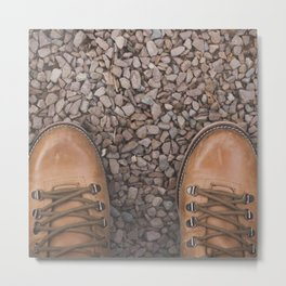 Traveling / Hiking Boots - Minimalist Photography Metal Print