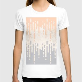 Marble and Geometric Diamond Drips, in Grey and Peach T-shirt