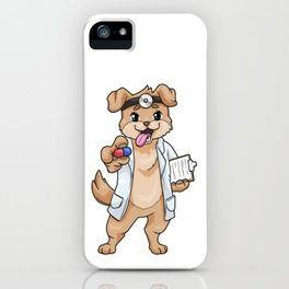 Dog as doctor with pills and notepad iPhone Case
