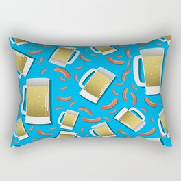 Beer and Sausage pattern on blue background German bavarian Oktoberfest Rectangular Pillow