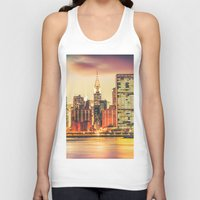 new york city Tank Tops featuring New York City Skyline by Vivienne Gucwa