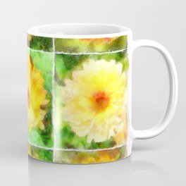 Watercolour Collage of Yellow And Orange Marigolds Coffee Mug