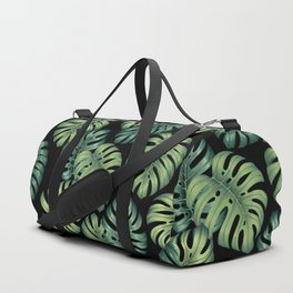 Monstera botanical leaves illustration pattern on black Duffle Bag