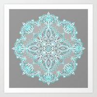 bedding Art Prints featuring Teal and Aqua Lace Mandala on Grey by micklyn