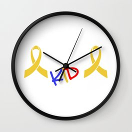 Fight Like A Kid Gold Ribbon Childhood Cancer Awareness Wall Clock