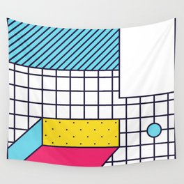 Festive Background in Neo Memphis Style Colorful Decorative pattern Wall Tapestry