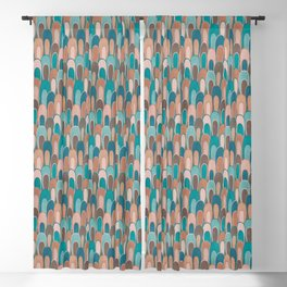 Burnt Sienna and Ocean Blue Abstract Loops Blackout Curtain