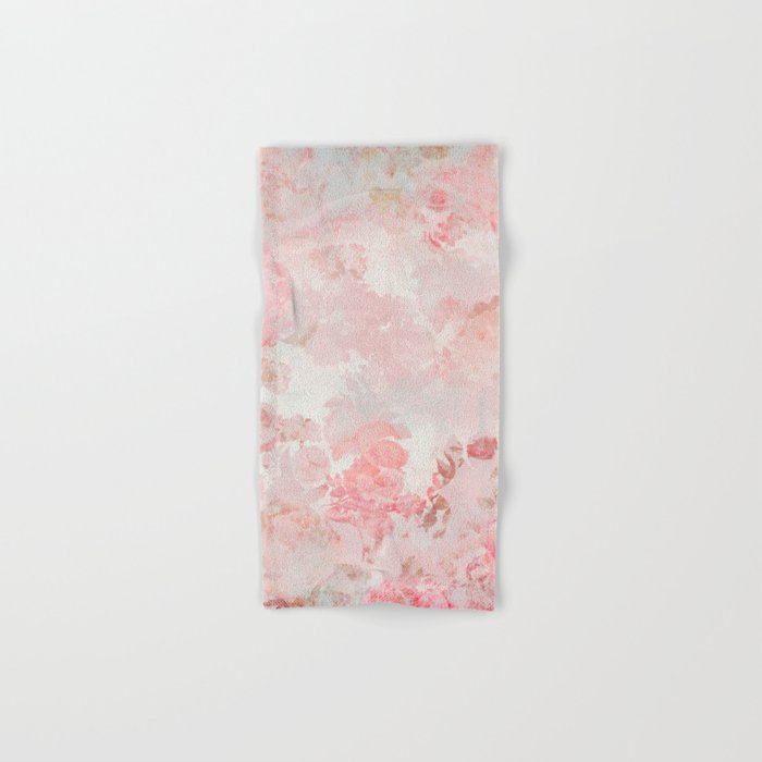 Vintage Floral Rose Roses painterly pattern in pink Hand & Bath Towel