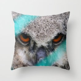 eyes of fire, young bird of prey portrait Throw Pillow