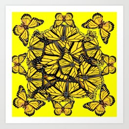 YELLOW MONARCH BUTTERFLY DOG PILE OF WINGS Art Print