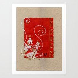 Lord Hanuman with Maa Anjani / Painting of Monkey King / Original warli painting of Amrita Gupta Art Print