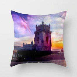 Night and Day Belém Tower Throw Pillow