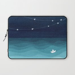 Garlands of stars, watercolor teal ocean Laptop Sleeve
