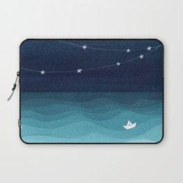Garlands of stars, watercolor teal ocean Laptop Sleeve