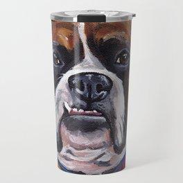 Cute Boxer Painting, Blue Dog Painting Travel Mug
