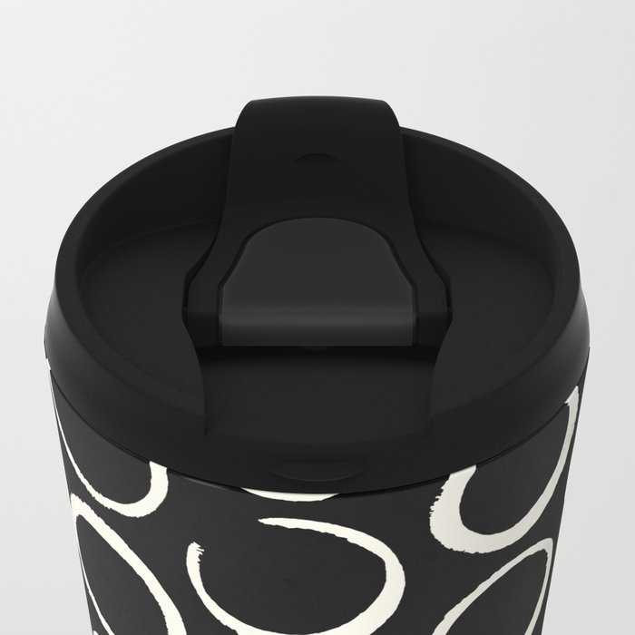 Polka Dots Circles Tribal Cream on Black Metal Travel Mug