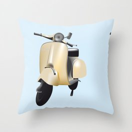 Three Vespa scooters in the colors of the Italian flag Throw Pillow