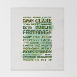 32 Counties Of Ireland Throw Blanket