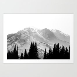 Mount Rainier Black and White Art Print