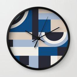 Classic Blue Blocks Wall Clock