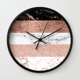 Modern chic color block rose gold marble stripes pattern Wall Clock