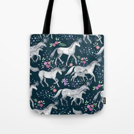 Unicorns and Stars on Dark Teal Tote Bag