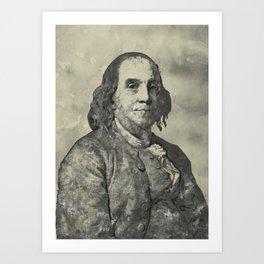 Benjamin Franklin Vintage Watercolor Art Art Print