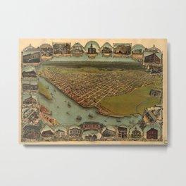 Vintage Pictorial Map of Eureka California (1902) Metal Print
