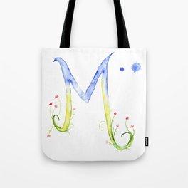 Letter M watercolor - Watercolor Monogram - Watercolor typography - Floral lettering Tote Bag