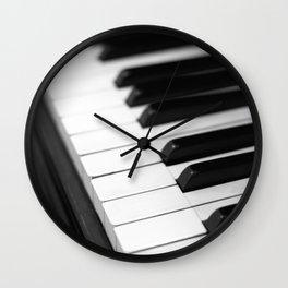 piano keys  black and white Wall Clock
