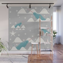 narwhal in ocean grey Wall Mural