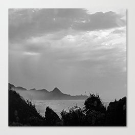 Violent Shores in Black and White Canvas Print