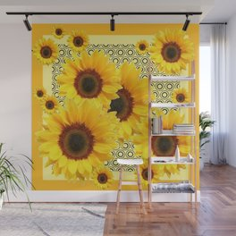 YELLOW KANSAS SUNFLOWERS DECO ABSTRACT Wall Mural