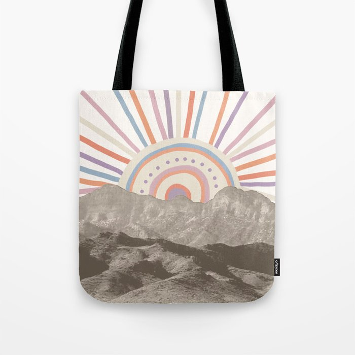 Summerlin Mountain Up Abstract Vintage Mountains Summer Sun Surf Beach Vibe Drawing Hy Wall Ha Tote Bag By Palmtreeprints