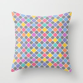 Rainbow & Gray Quatrefoil Throw Pillow